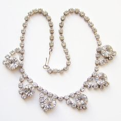 Vintage Clear Crystal Rhinestone Choker Necklace by redroselady, $78.00