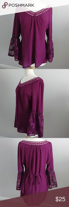 8ddcde3ea1b90 ROMANTIC PURPLE TOP WITH LACE TRIM   BELL SLEEVES LOVELY ROMANTIC PLUM  COLOR TOP WITH LACE