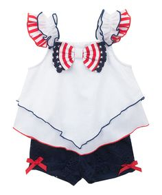 51d29ae9b7b4 Look at this White & Navy Bow Tank & Shorts - Infant, Toddler