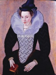 """Unknown Woman"" by Robert Peake the Elder (1610) - ""The ruff usually evolved into a more relaxed form as time passed.  Northern European women gave up their traditional black & white dress including ruffs more slowly. The standing ruff survived into the 1620's, but from 1615 to 1640 the falling ruff was more popular."""
