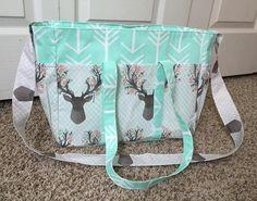 Deer Floral & Mint Arrow Diaper Bag/Arrow by SewSweetBabyDesigns