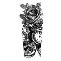 Roses and Clocks Sleeve Tattoo