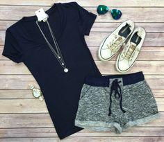 Basic Terry Pocket Shorts: Navy