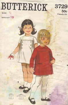 Butterick 60s Sewing Pattern Girls Dress Long Short Sleeves Jewel Neck A-line Uncut FF Breast 19 Infant Toddler Size. $7.00, via Etsy.