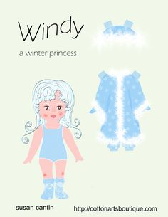WINDY | Princess Paper Doll  | Windy is a winter princess who wants to go out and play in the snow and ice all day. She is happiest making snowmen and ice castles. What else could she do with all the January snow? Draw her an ice castle.  1 of 2