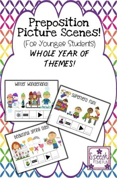 "Speech Time Fun: Preposition Picture Scenes For The Entire Year (for younger students)! Use the sentence strips to encourage expanded utterance length and work on answering ""where"" questions! Just print and go, low prep!!"