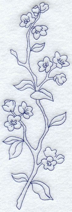 Japanese cherry Embroidery Patterns | Quick-stitching, one-color Bluework means fast and fun additions to ...