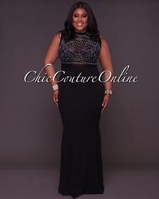 f65fa41389 Cassidy CURVACEOUS Black Embellished Gown Curvy Women Outfits