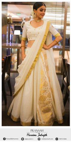 Elegant Designer Indian Lehenga Click visit above for more options Half Saree Lehenga, Indian Lehenga, Indian Gowns, Saree Dress, Indian Attire, Anarkali, South Indian Sarees, Kerala Saree, Churidar