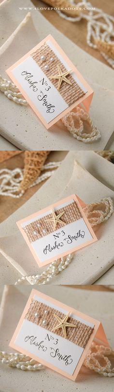 Beach Wedding Place Card - Starfish, Burlap & Pearls #weddingideas #beachwedding #sea #destinationwedding