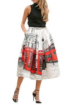 Chic Oh London Printed Pleated Midi Skirt #skirt #midiskirt #chic #winter