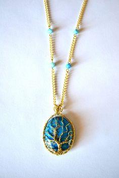 Tree of life Pendant, Jasper Pendant, turquoise  Necklace, Brass Necklace, Brass Pendant, OOAK necklace