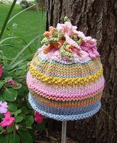 Knit hat confection  I need to use leftover yarn and make some of these