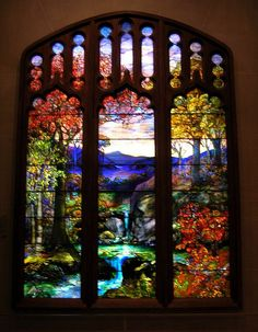 """""""Autumn Landscape"""" ~ Stained Glass window designed by: Agnes Northrop for Louis Comfort Tiffany Studio's. Her design work for Tiffany, displayed peaceful landscaped vistas. Some of her works, were designed during the Gilded Age. Tiffany Glass, Tiffany Stained Glass, Stained Glass Art, Stained Glass Windows, Mosaic Glass, Tiffany Art, Tiffany Room, Tiffany Outlet, Fused Glass"""