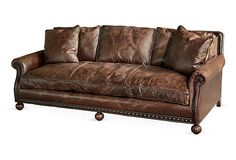 """Ralph Lauren Home - Aran Isles 93"""" Sofa  Ralph Lauren is known for enjoying quality worn leather. These sofas would enhance the rustic luxury setting."""