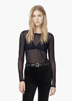 Mesh design top - Jeans for Women | MANGO