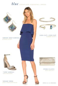 Blue Outfit for a Wedding Guest with navy blue strapless dress and gold accessories. This navy blue strapless short dress is ideal for a guest heading to a destination wedding or summer beach wedding.