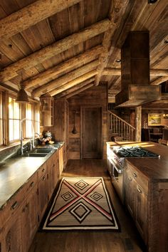 Love the cabinets and soapstone or leathered granite countertops! Moose Creek Lodge-Miller Architects