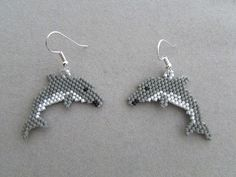 These delightful beaded Dolphin earrings measure about 1-1/2 inches wide and 1-inch long, excluding the ear wire. I have made them using the brick stitch and approximately 306 tiny delica seed beads, intricately woven together, adding one bead at a time, with a beading needle and thread to create the finished earrings you see here.  They would make a great gift for any dolphin lover, or maybe a treat for yourself.  The pierced fishhook ear wires are silver plated surgical steel. If you would…