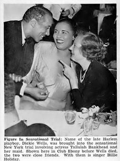 Dickie Wells, Billie Holiday and Tallulah Bankhead at Club Ebony - Jet Magazine, December 27, 1951