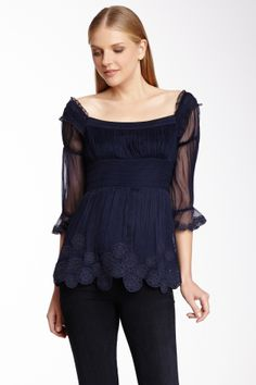 Catherine Malandrino Off Shoulder Pleated Silk Top