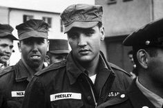 3.) A photo of Elvis Presley in the army.