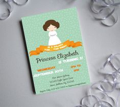 Princess Leia printable digital invitations on Etsy for Star Wars themed parties