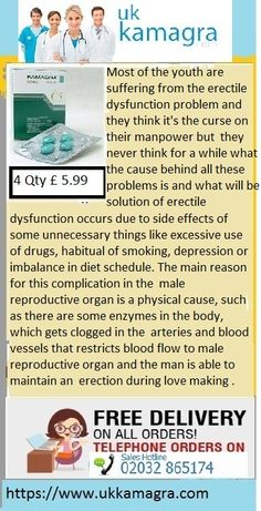 Active ingredient in Kamagra Sildenafil Citrate which has a great potential to remove the blockage and to increase blood flow to the male organ and thus offers a stronger and harder erection, which lasts until the climax. Sildenafil citrate gets easily dissolved in the blood and start working more effectively. Buy kamagra Tablets online 100mg prescription medicines for ED.