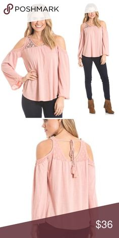 NWT Shimmer Embroidered Cold Shoulder Top A soft lightweight knit top with embroidered detail on the lace panels at the neck yokes, an open back with tassel ties and cold shoulder sleeves. Model is wearing size Medium. love on a hanger Tops