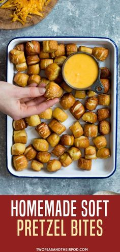 Looking for oktoberfest food party ideas? Try making this Homemade Soft Pretzel Bites. These little pretzel bites are fun to make at home and are great for parties and game day! Want some more game day favorites? Visit us at twopeasandtheirpod.com.