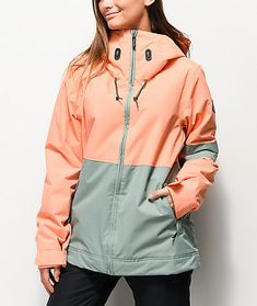 This vibrant Coastal Melon color way of the Dakine Juniper Jacket is a must have for your snowboard season. With waterproofing and equal breathability, this jacket offers a comfortable wear whether it be a powder day or spring slush. Womens Snowboard Jacket, Snowboarding Outfit, Coastal Style, Aperture, Winter Wear, Spring Summer Fashion, Spring Break, Jackets For Women, Ski Jackets
