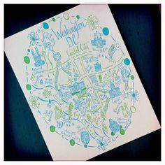 Washington, D.C. Map Letterpress Postcard/Save the Date Cards