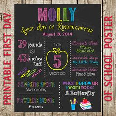 Back To School Printable Chalkboard Poster by ThePrettyPartyShoppe, $12.00