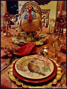 Autumn Tablescape / Thanksgiving Table / Fall Decor / Turkey Centerpiece from Pottery Barn ...