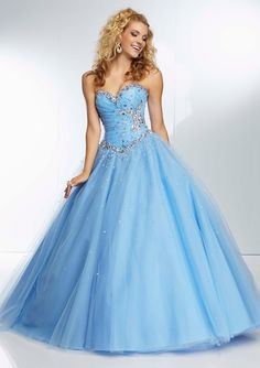 Draped Beaded Bodice on a Tulle Prom Ball Gown Skirt