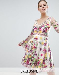 9be9bb93e6 Shop A Star is Born Multi Colored Embellished Mini Skater Dress with Fluted  Sleeve at ASOS