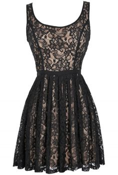 Effortlessly Enchanting A-Line Lace Dress in Black/Nude  www.lilyboutique.com