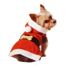 Holiday Time Dog Santa Suit Christmas Pet Outfit With Attached Santa Hat