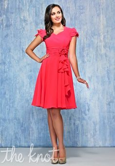 Cute bridesmaids dress! Obviously would want this not pink, but I like the style- and if I go with some ruffle cascade, it then plays off that nicely...