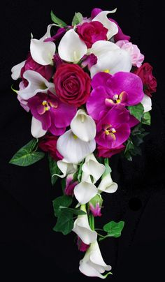 Fuchsia Cascade Wedding Bouquet made with Silk Natural Touch Calla Lilies, Roses and Orchids. by www.wedideas.com
