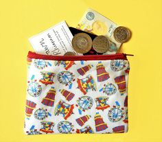 Bright fairground coin purse  colourful zip pouch  quirky Money Safe, Coin Purses, Etsy Uk, Fun Prints, Line Design, Uk Shop, Rubber Duck, Newcastle, Hand Drawn