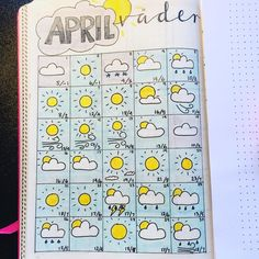 Started tracking the weather in April and what can I say? Unusual great weather for spring. Bullet Journal Tracker, Bullet Journal 2019, Bullet Journal Hacks, Bullet Journal Spread, Bullet Journal Layout, Bullet Journal Inspiration, Journal Pages, Journal Ideas, Bullet Journal Calendrier