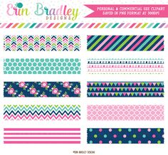 Cheery Day Digital Washi Tape Clipart – Erin Bradley/Ink Obsession Designs