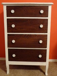 twoo tone dressers | White Two Tone Dresser $220. This antique chest of drawers has been ...