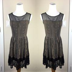 ♦️BLACK & TAUPE LACE DETAIL DRESS Black sheer mesh collar. Skater skirt with lace detail. Dresses