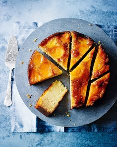 Caramelised apricot and ricotta upside-down cake