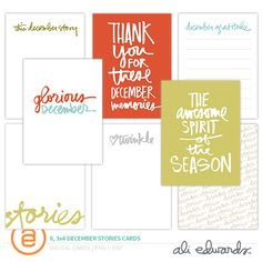 December Stories 3x4 Cards by Ali Edwards #decemberdaily