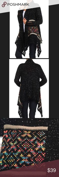 Black Colorful Sequin asymmetrical Cardigan - NWT - Black with Muticolor Tribal Print and sequins throughout  - 100% Acrylic - Wash cold, hang dry - Perfect for Fall and Winter outfits! - Available in S/M or M/L - Fit TTS Sweaters Cardigans