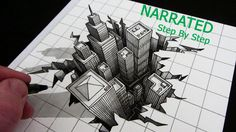 How to Draw a Hole 3D City Optical Illusion: Narrated Step by Step
