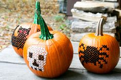 Embroidered pumpkins - 15 Awesome No-Carve Pumpkins I Halloween No-Carve Pumpkin Ideas - ParentMap